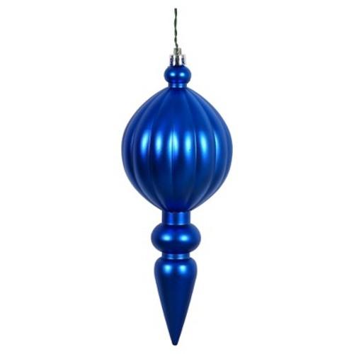 6ct Cobalt Blue Matte Finial Drill Christmas Ornament Set