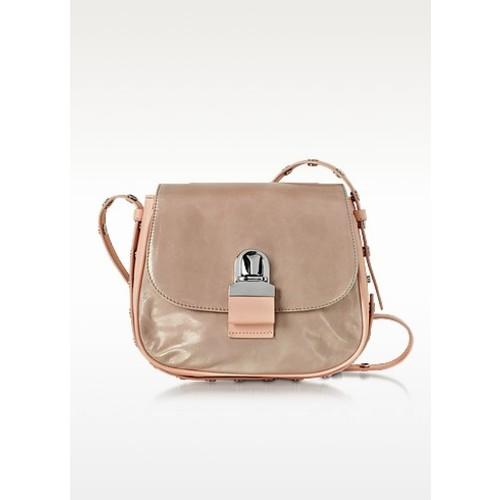 Pink Cracked Leather Shoulder Bag