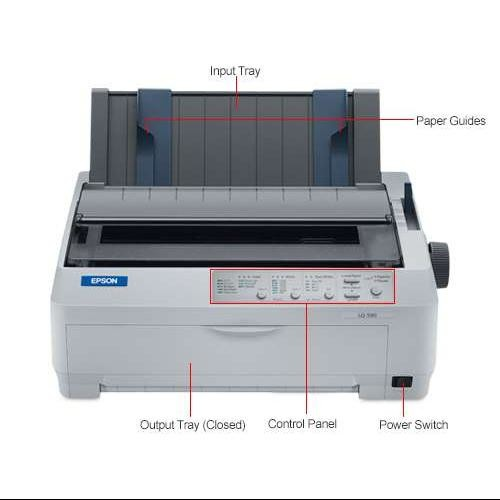 Epson LQ-590 24 Pin Impact Invoice Printer Narrow Format Parallel and USB Interface 15 cpi up to 529 char per sec