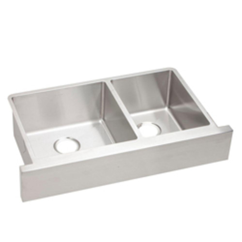 Crosstown Undermount Stainless Steel Double Bowl Kitchen Sink [ECTRUF32179R; Polished satin]