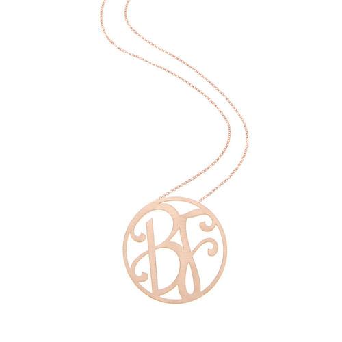 Medium 2-Initial Necklace, Rose G