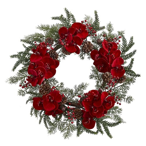 Nearly Natural 22 in. Orchid, Berry and Pine Holiday Artificial Wreath