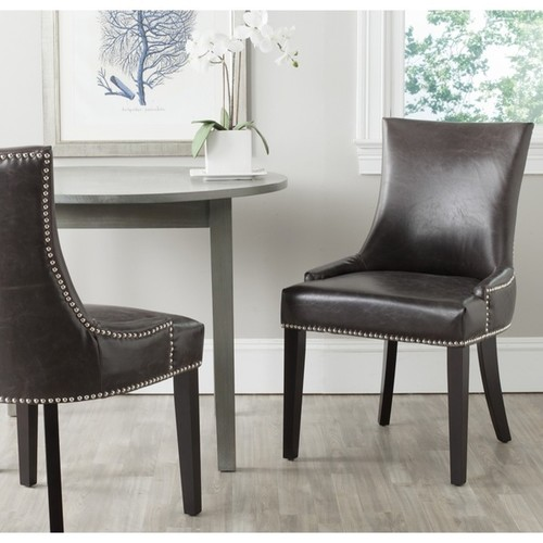 Safavieh En Vogue Dining Lester Antique Brown Bonded Leather Dining Chairs (Set of 2)