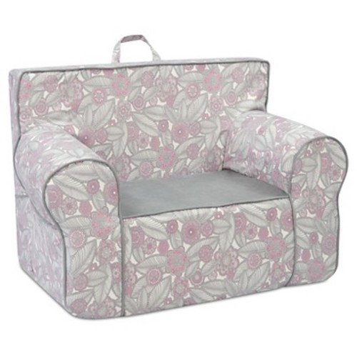 Tween Grab-N-Go Foam Chair With Handle - Tribal Pebbles - Pink With Gray & White - Kangaroo Trading Co.