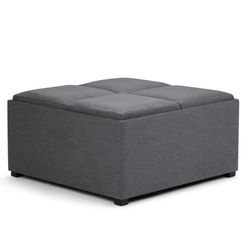 Simpli Home Avalon Slate Grey Storage Ottoman
