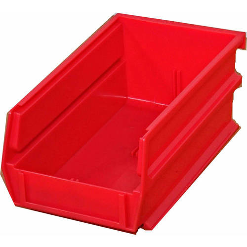 Triton Products Red LocBin Stacking 7-3/8 in.L x 4-1/8 in. W x 3 in. H Interlocking Hanging Polypropylene Bins (10-Quantity)
