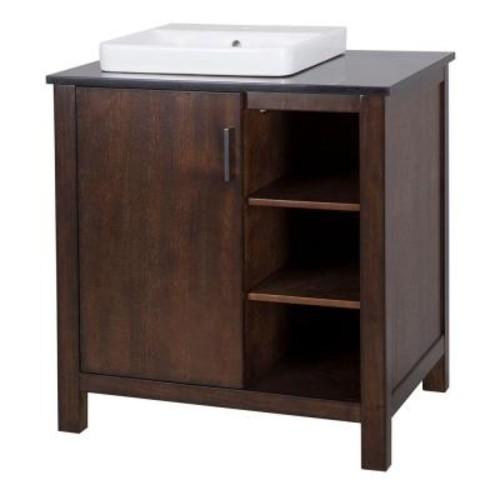 Home Decorators Collection Castlethorpe 31 in. Vanity in Dark Walnut with Granite Vanity Top in Black