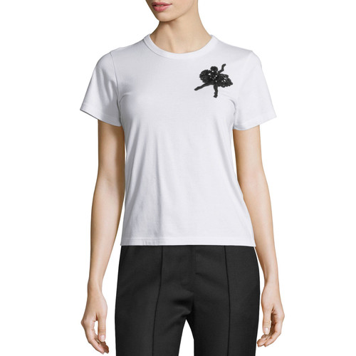 MARC JACOBS Sequined-Ballerina Cotton Tee, White