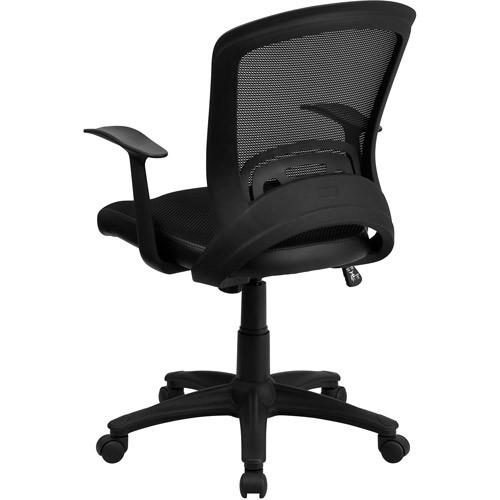 Flash Furniture Mid-Back Designer Black Mesh Swivel Task Chair with Arms [Black]