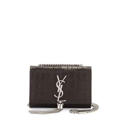 SAINT LAURENT Monogram Small Kate Tassel Crocodile-Embossed Shoulder Bag, Dark Gray