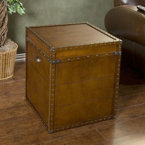 Southern Enterprises Steamer Trunk End Table, Square, Walnut
