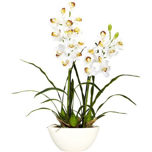 Cymbidium with White Vase Silk Flower Arrangement