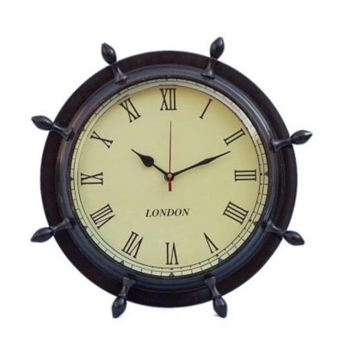 Handcrafted Nautical Decor Ship Wheel 15'' Clock; Antique Copper