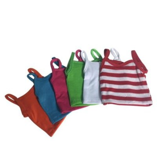 York Doll Collection Cami Tops & Striped, Multi-Color - Set of 7 (NYDC1108)