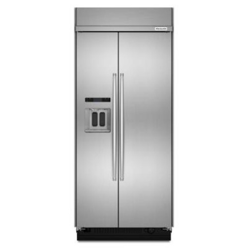 KitchenAid 36 in. W 20.8 cu. ft. Built-In Side by Side Refrigerator in Stainless Steel