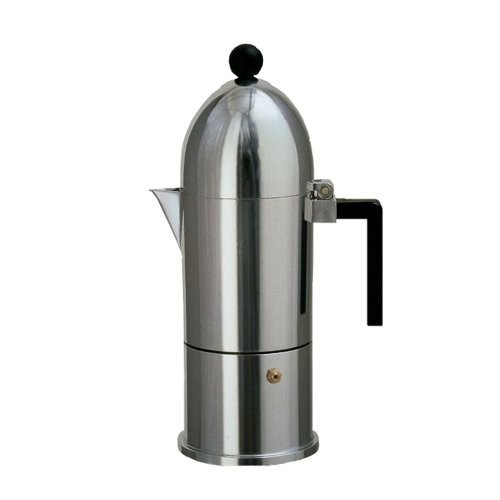 Alessi A9095/6 B La Cupola 6-Cup Silver Aluminum Espresso Maker With Black Handle
