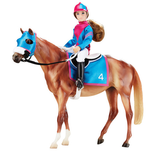 Reeves Breyer Let's Go Racing Plastic Model Horse and Doll