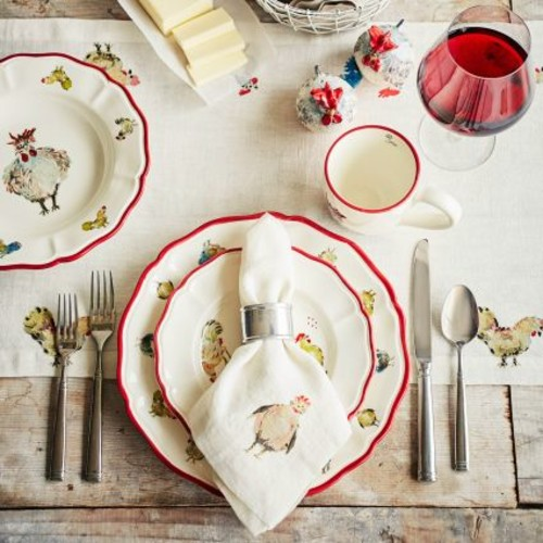 Jacques Ppin Collection Chickens Linen Table Runner, 108
