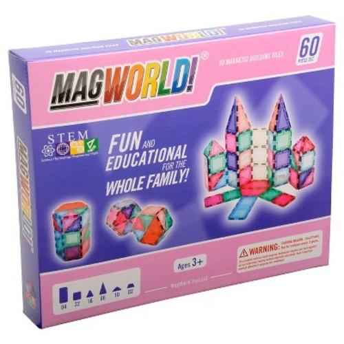 MagWorld 3D Magnetic Building Tiles 60 Pieces - Pastel