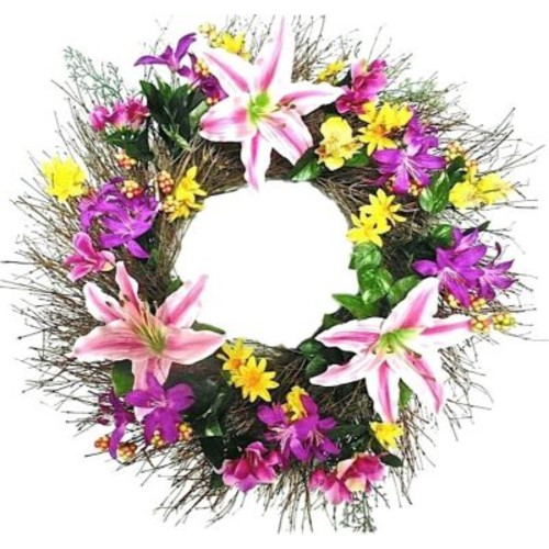 Dried Flowers and Wreaths LLC 22'' Faux Lily and Forsythia Wreath