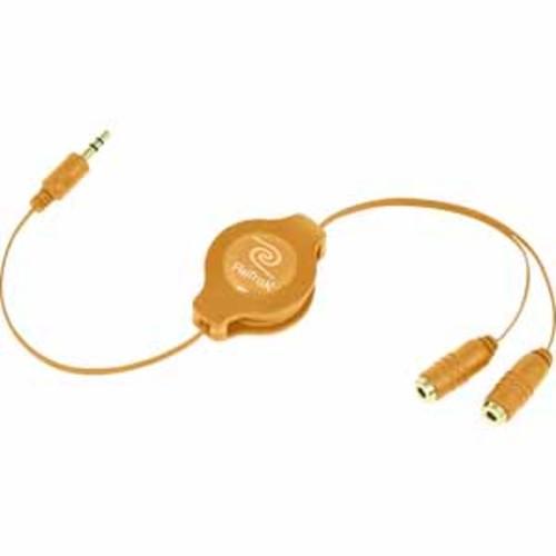 ReTrak Retractable Headphone Splitter - Orange