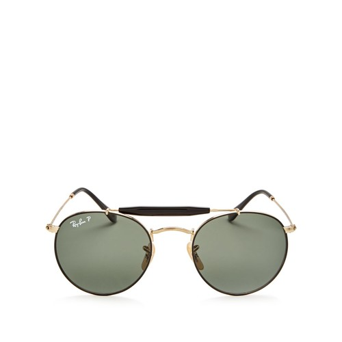 RAY-BAN Polarized Brow Bar Round Sunglasses, 50Mm