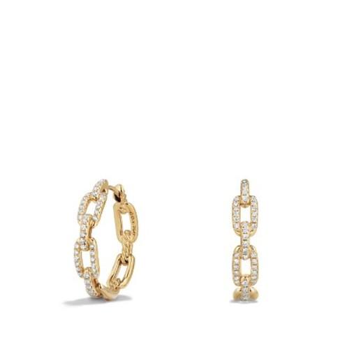 Stax Medium Chain Link Hoop Earrings with Diamonds in 18K G