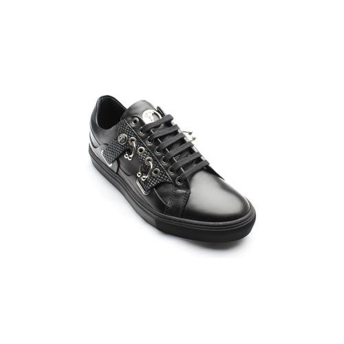Versace Collection Men's Leather Rubber Medusa Logo Low Top Sneaker Shoes Black