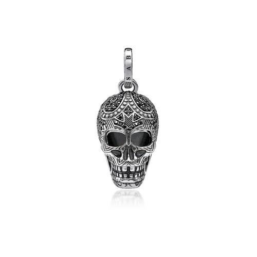 Blackened 925 Sterling Silver and Zirconia Maori Skull Pendant