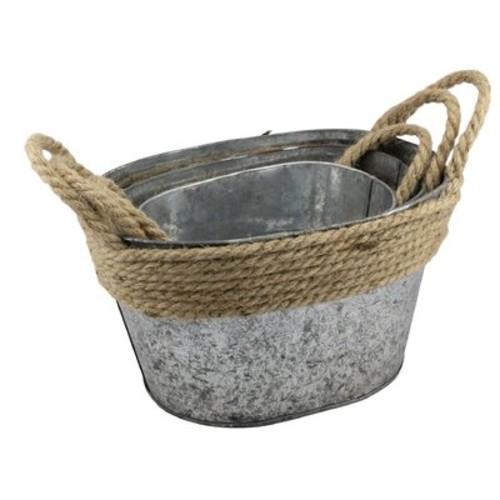 Stonebriar Galvanized Metal 3 Piece Basket Set