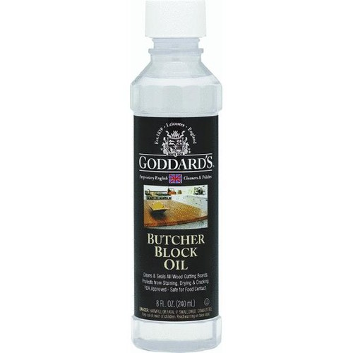 Goddard's 8 oz. Butcher Block Oil - Wood Cutting Board Cleaner - FDA-Approved Food-Contact Safe