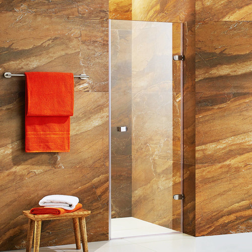 VIGO Tempo 24-inch Adjustable Frameless Shower Door with Clear Glass and Stainless Steel Hardware [VG6073STCL24; Clear/Stainless Steel]