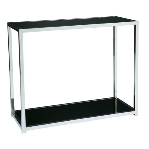 Ave Six Yield Table, Foyer, Rectangular, Chrome/Black