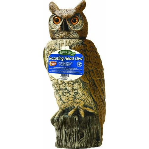 Gardeneer Natural Enemy Scarecrow Rotating-Head Great Horned Owl Pest Deterrent Decoy - RHO-4