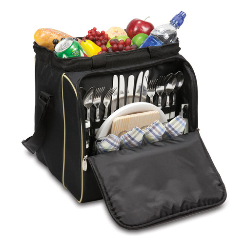 Picnic Time 'Verdugo' Insulated Picnic Cooler with Deluxe Service for Four, Black [Black]