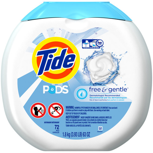 Tide PODS Free & Gentle Laundry Detergent, Unscented, 72 count, Designed for Regular and HE Washers