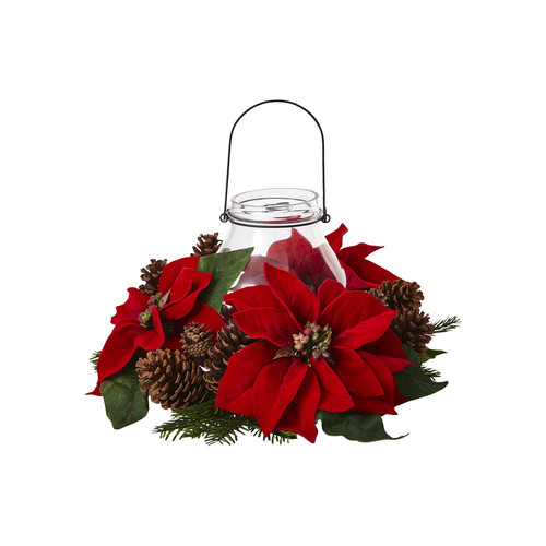 Poinsettia Pine Candelabrum by Nearly Natural