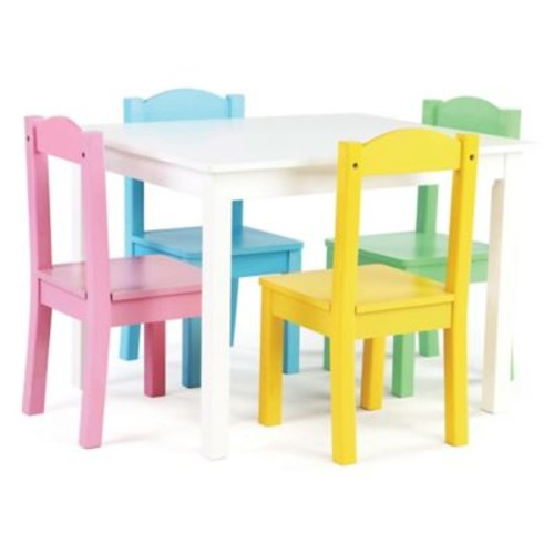 Tot Tutors 5-Piece Wooden Table and Chairs Set in White/Pastel
