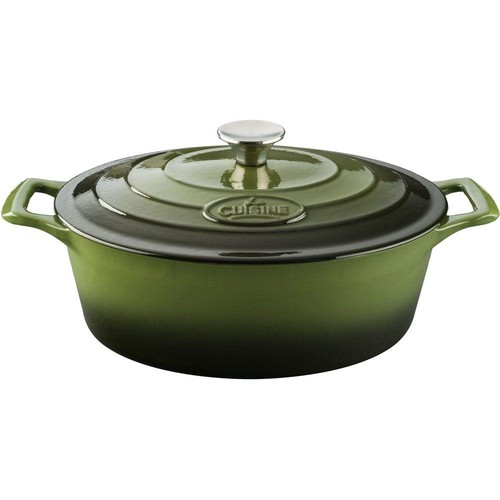 La Cuisine Pro 6.75 Qt. Cast Iron Oval Casserole with Green Enamel