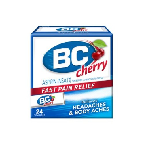 BC Aspirin Fast Pain Relief Powder - Quickly Relieves Pain Due to Headaches, Body Aches, and Fever - Contains Caffeine - Cherry Flavored - 24 Powders [24 Powders, Cherry]