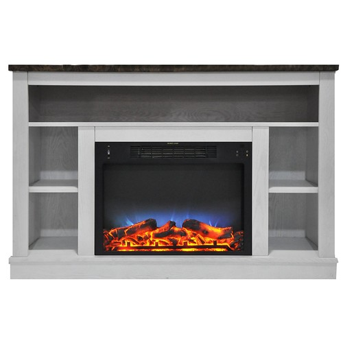 Cambridge 47 in. Electric Fireplace with an Enhanced Log Display and Stand, White