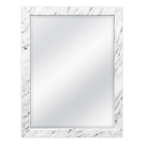 18.5-Inch x 22.5-Inch Faux Marble Wall Mirror in White