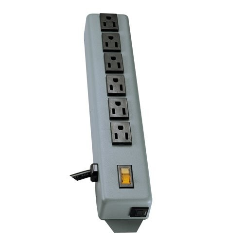 Tripp Lite Waber Power Strip Metal 5-15R 6-Outlet 5-15P 6-ft. Cord
