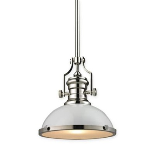 Elk Lighting 13-Inch Light Pendant Light in Polished Nickel with White Glass Shade