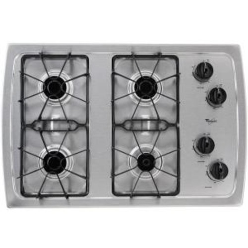 Whirlpool 30 in. Gas Cooktop in Stainless Steel with 4 Burners