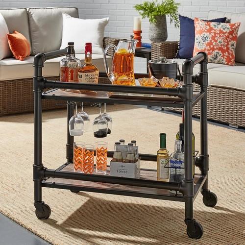 HomeSullivan Armand Dark Bronze Bar Cart with Wine Glass Storage