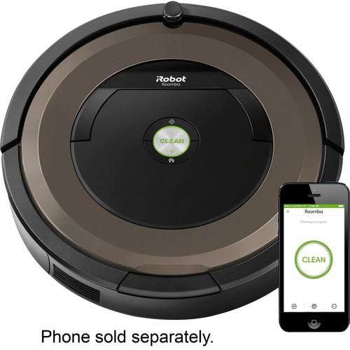 iRobot - Roomba 890 App-Controlled Self-Charging Robot Vacuum - Black/brown
