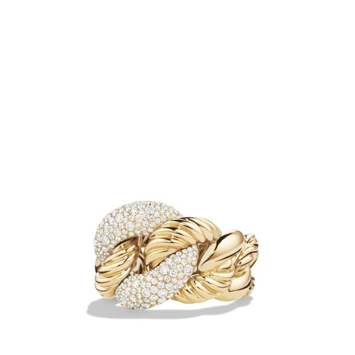 Belmont Curb Link Ring with Diamonds in 18K G