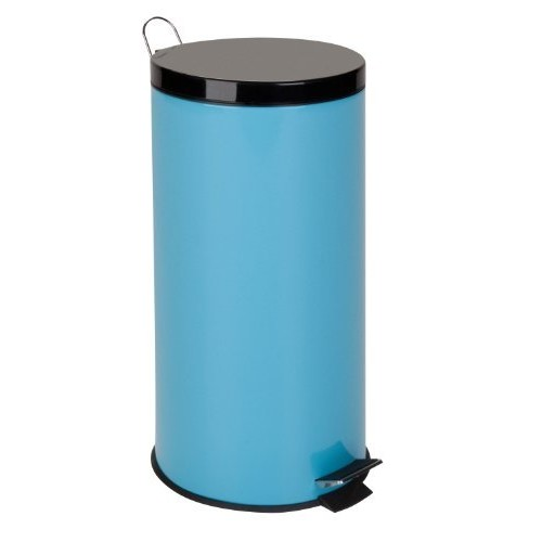 Honey-Can-Do TRS-02075 Stainless Steel Step Trash Can with Liner, Blue, 30-Liter/8-Gallon [Blue, Blue]