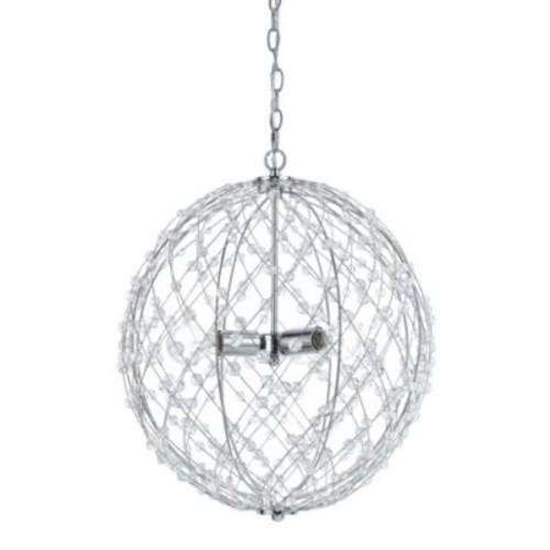 AF Lighting Spherical Silver Web 3-Light Pendant